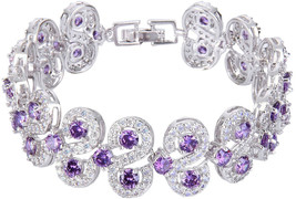 EVER FAITH Silver-Tone CZ February Birthstone Vinstage Style Art Deco Te... - $82.97