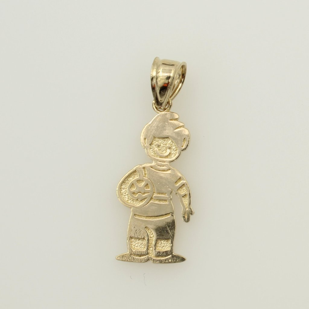 14K Real Yellow Gold Small Soccer Shoe Puffed 3D Hollow Charm Pendant
