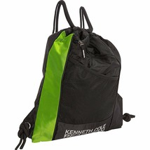 18185-1 Kenneth Cole Black Neon Green Drawstring Cinch Top Backpack Book... - $18.51