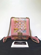 NEW AUTH CHANEL 2019 PINK TWEED LAMBSKIN NORTH SOUTH BOY FLAP BAG RECEIPT image 1
