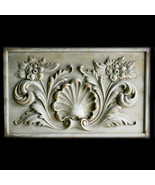 Renaissance Shell with Flowers Decorative Wall Relief Sculpture Plaque - $206.91
