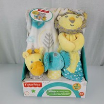 Fisher Price Cuddle N Play Set Security Blanket Rattle Zoo Lion Elephant Giraffe - $64.34