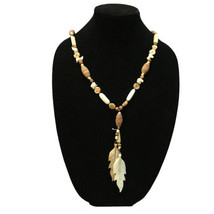 Miriam Haskell Necklace Carved Wood Leaf Pendant Signed Long Vintage Jew... - $58.91