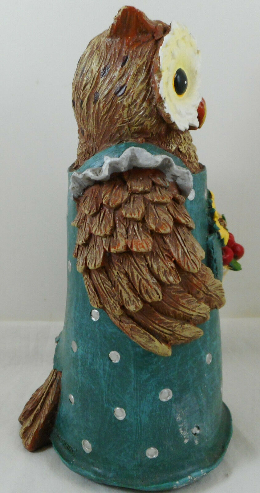 "Anthropomorphic Owl Figurine 9"" Resin Green Dress image 2"