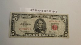 1963 US $5 Dollar Red Seal United States Note * 192248 - $13.85