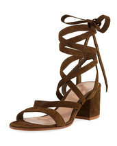 Sergio Rossi Janis Low Suede Lace-Up Sandals 35.5 MSRP $795.00 - $470.25