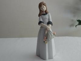 "Nadal Spain Spanish Porcelain Flowers in Cloth Girl Figurine 10"" DEFECT ... - $24.99"