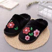 Women Slippers Flower Print Flat Indoor Shoes Winter Plush Warm Home Foo... - $17.99