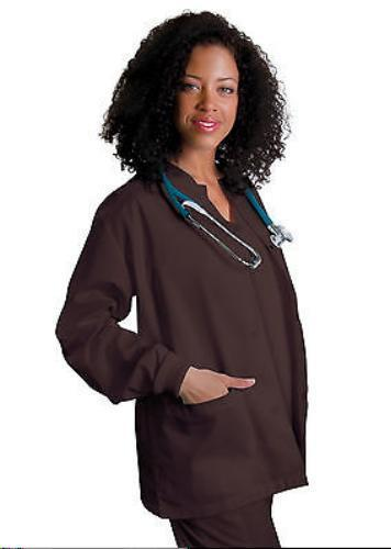 Primary image for Brown Scrub Jacket M Adar Uniforms Warm Up Top Round Neck Ring Snap Blend New