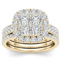 IGI Certified 14k Yellow Gold 2.00 Ct Diamond Halo Two Bands Engagement ... - $1,809.99