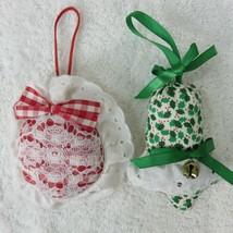 2 Handmade Fabric Stuffed Ornaments Christmas Bell Holiday Vintage  - $19.75