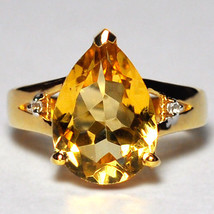 Natural Pear Citrine Topaz Solitaire Ring Womens Yellow Gold Sterling Si... - $89.00