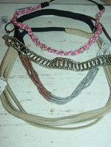 American Eagle Outfitters lot 4 headbands beaded chain pink silver-NWT-$... - $22.26