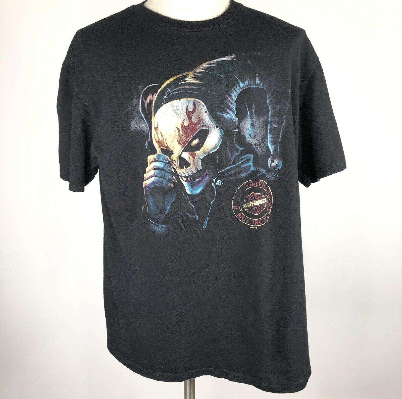 Harley Davidson T Shirt Skeleton Clown Size XL Sturgis MI Black Motorcycle image 3