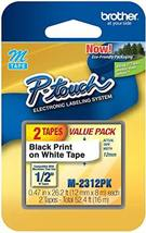 """Brother Genuine P-Touch M-2312PK Tape, 2 Pack, 1/2"""" Wide, Black on White... - $8.80"""