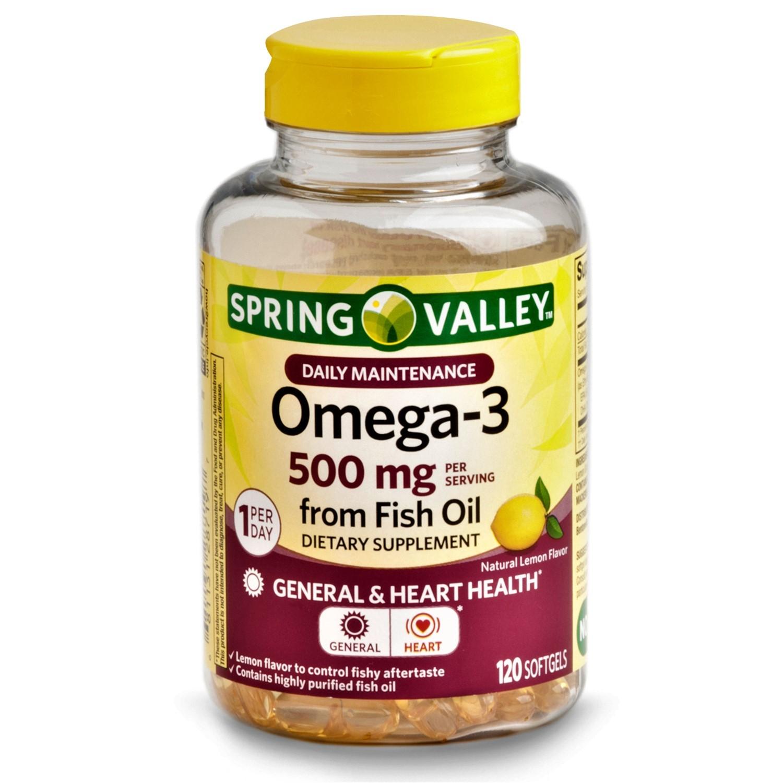 Spring Valley Omega-3 Fish Oil Softgels General & Hear Health 500mg 120 Softgels - $17.80