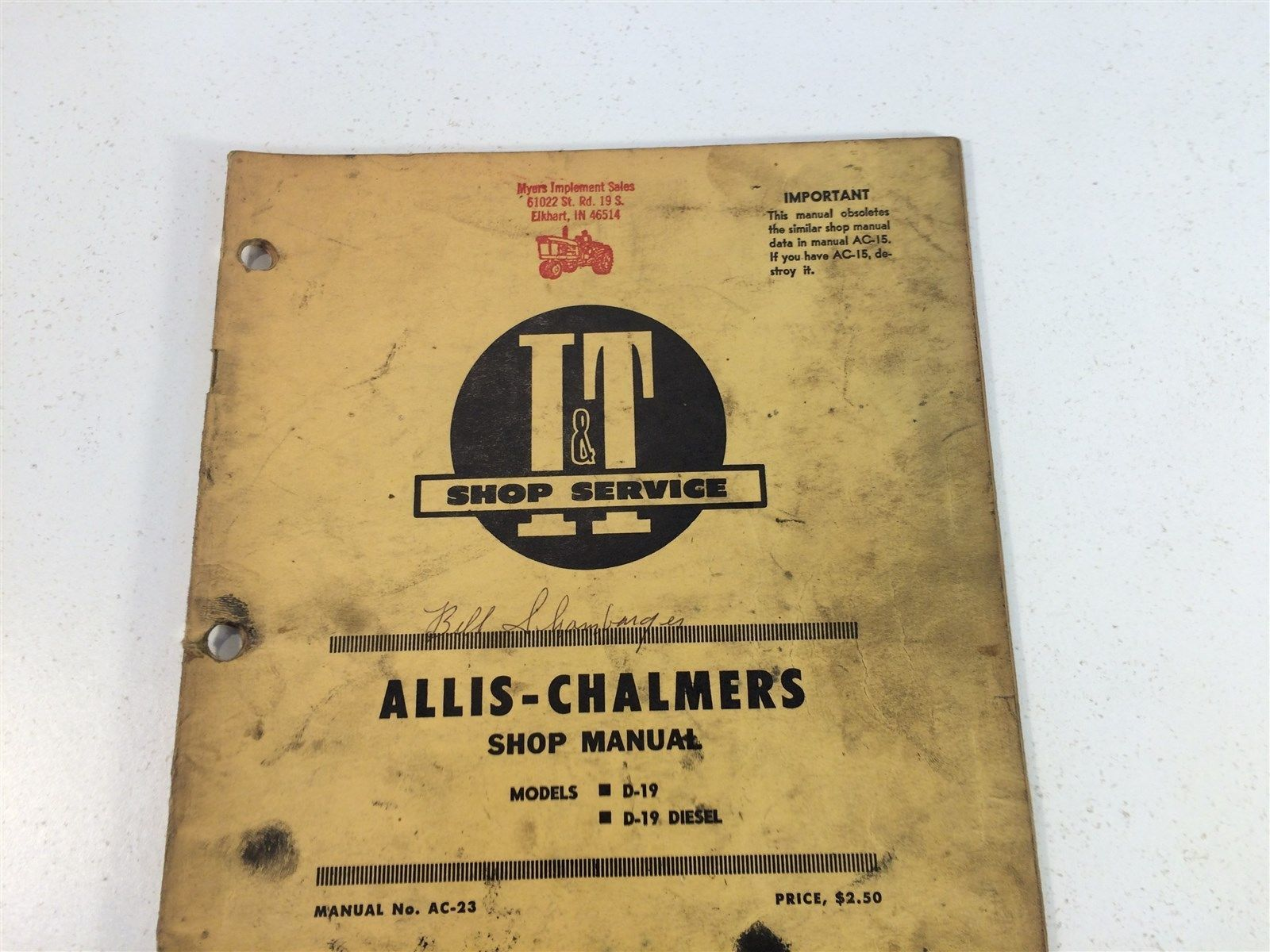 Vintage 1967 Implement & Tractor Shop Manual - Allis-Chalmers D-19 D-19 Diesel