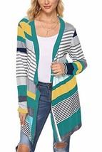 Kancystore Women's Casaul Long Sleeve Cardigans Striped Printed Sweater Cardigan - $33.22
