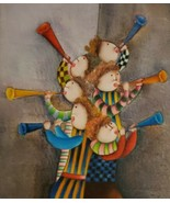 Signed J. Roybal Children Playing Trumpets Musical Instruments Art Painting - $280.49