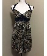 LOVE TEASE Black Sequin Brown Leopard Print Cocktail Club Party Dress Juniors 5 - $27.63