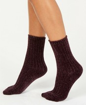 HUE Womens CHENILLE ANKLE CREW SOCKS Soft Cozy Deep Burgundy One Size - NWT - $6.53
