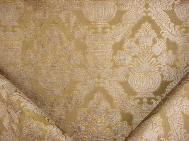 1-1/2Y DONGHIA METALLIC GOLD FLORAL DAMASK CHENILLE DRAPERY UPHOLSTERY F... - $43.56