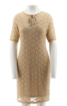 Nikki Nikki Poulos Angela Lace Dress Champagne S NEW 479-408 - $51.46