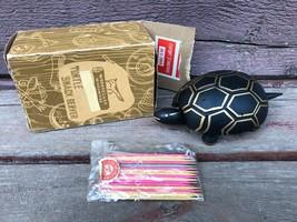 VTG Woodpecker Wood Ware Novelty TURTLE Snack Server Toothpicks HORS D'O... - $14.80