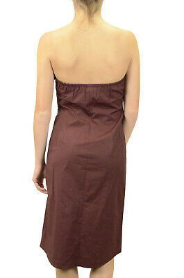 Size 8 J Crew Burgundy/Brown Strapless Sheath Dress Elastic Back Knee Length EUC image 2