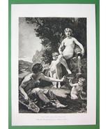 NUDE Mythology Poet Cupids & His Inspiration - Victorian Era Print - $12.15