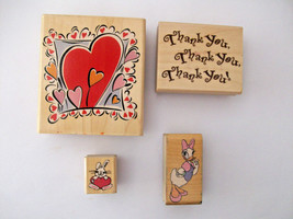 Rubber Stampede Stamp Bloomin Heart Thk You Heart Bunny Disney Daisy Duc... - $7.99