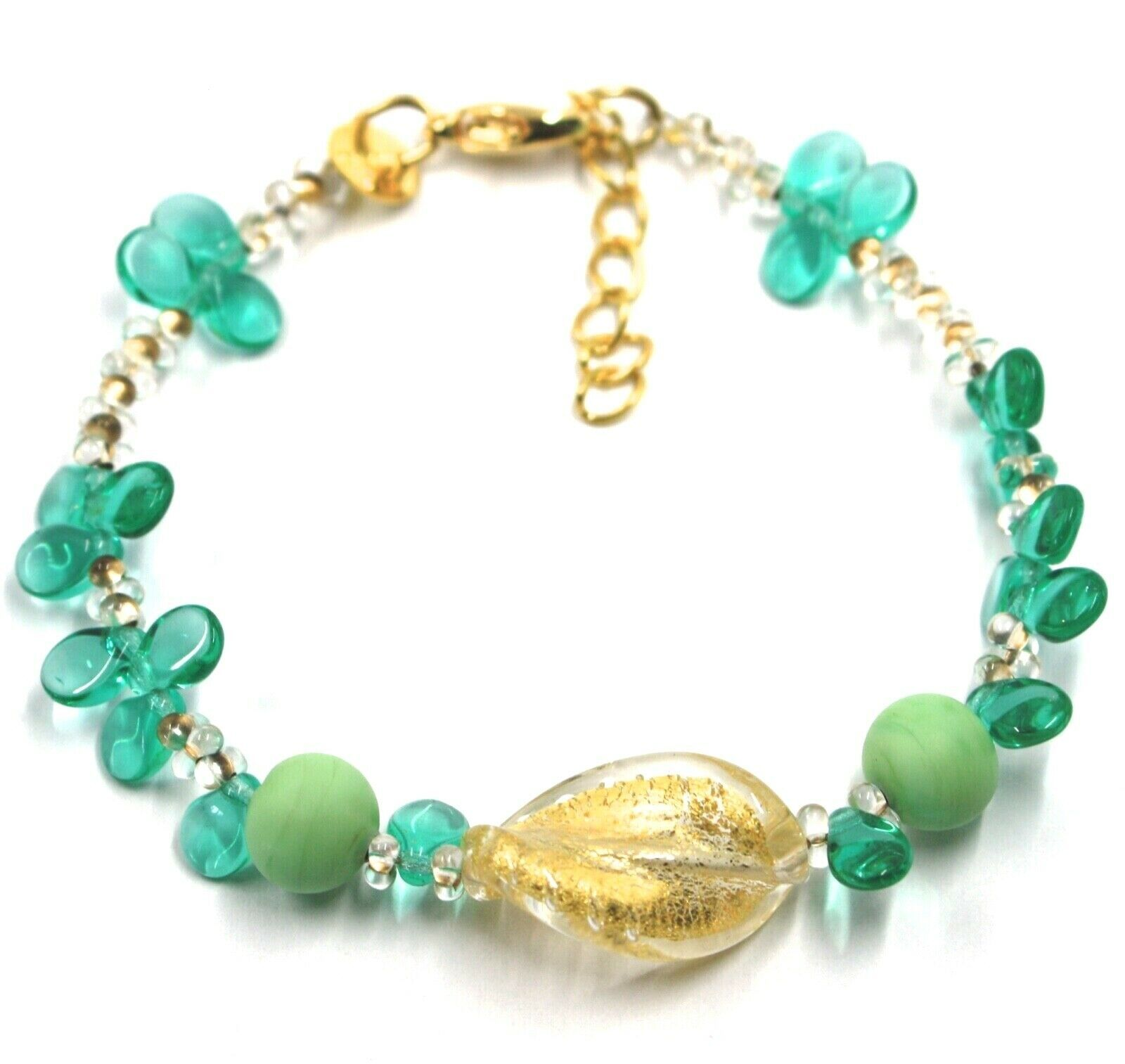 BRACELET PETALS DROPS, SATIN SPHERE SPIRAL WAVE YELLOW GREEN MURANO GLASS ITALY