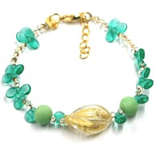 BRACELET PETALS DROPS, SATIN SPHERE SPIRAL WAVE YELLOW GREEN MURANO GLASS ITALY image 1