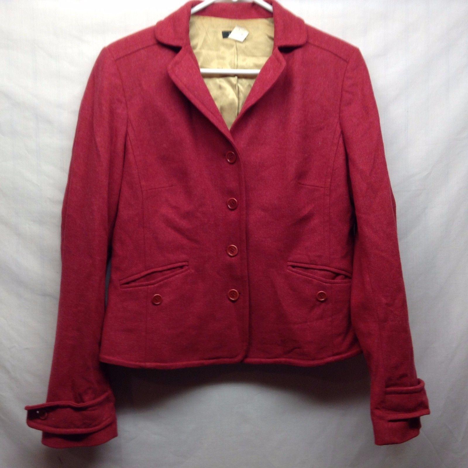 Ladies J. CREW Red Wool Blazer Sz LG
