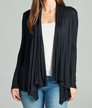 Open Cardigan, Lightweight Drapey Cardigan, Black Open Cardigan, Womens