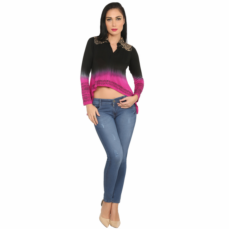 Ira Soleil viscose knitted stretchable high low black and pink shaded viscose to