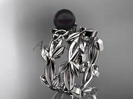 Celtic trinity knot platinum black cultured pearl wedding ring set CTBP7522S - $1,875.00