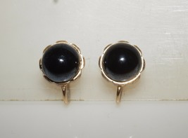 Delicate Vintage Signed Rolled Gold Hematite Screw on Earrings - $19.50