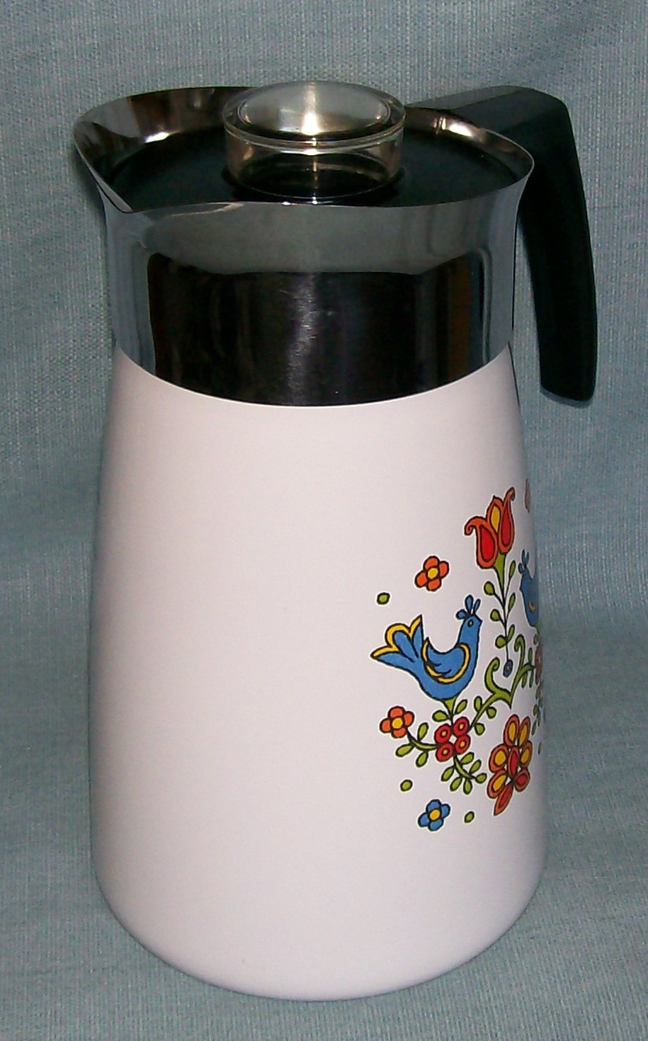 Vtg Corning COUNTRY FESTIVAL Friendship Stove Top 10 Cup Percolator P149 Birds image 3