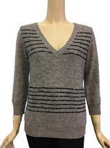 J. Crew Taupe Brown V-Neck Sequin Stripe Sweater S - $42.00