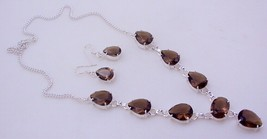 Faceted Smoky Quartz Silver Overlay Handmade Jewelry Necklace - $8.70