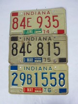 1974 1975 1976 Indiana License Plate Lot Blue Red Black - $27.67