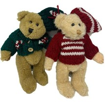 "Pair of Chrisha Playful Plush 8"" Ivory and Brown Jointed Bears in Sweate... - $12.99"