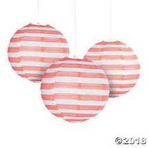 Coral Striped Hanging Paper Lanterns - $12.49