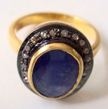 Antique Look 0.75Ct Rose Cut Diamond Sterling Silver Sapphire  Ring CSJU... - $5.670,20 MXN