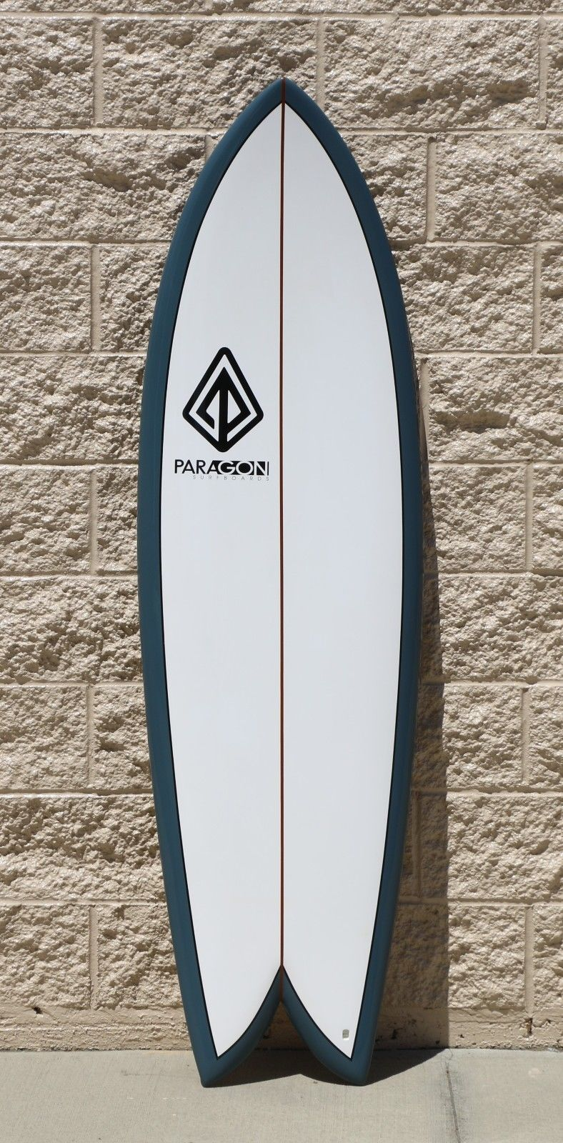 """Paragon Retro Fish 6'0"""" Surfboard - White with Orion Blue Rails"""