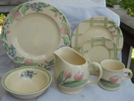 22 Pfaltzgraff Garden Party Dinnerware Dinner Plate Soup Bowl Violet Gravy Boat - $67.31