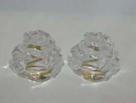 Gorham Fine Crystal Floral Garden Rose Salt and Pepper Shaker Set Czech Republic - $10.84