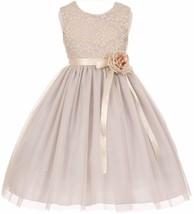 Flower Girl Dress Lace Two Tone Satin Ribbon Silver CC 1142 - $40.00