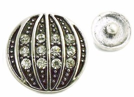 Interchangeable Button Snap Jewelry Ribbed Rhinestone Charm 18m 267 - $5.92